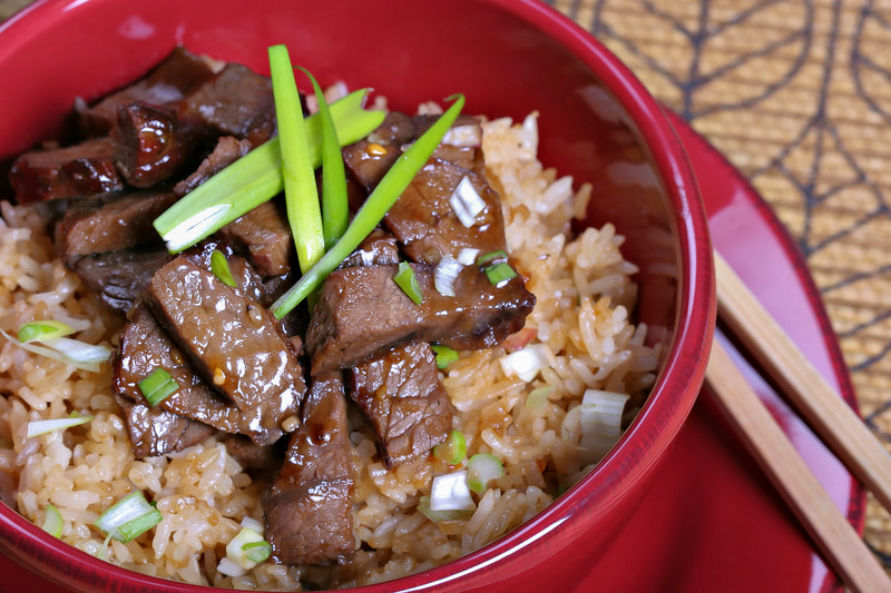 chinese food - twice coocked beef stir fry rice