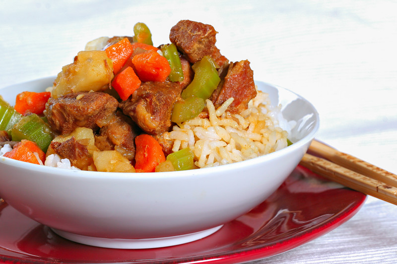 stewed pork over rice - chinese food