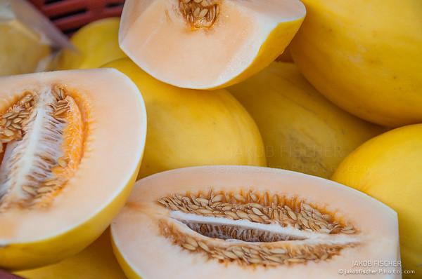 Honeydew melon on a fruitmarket, Yangon