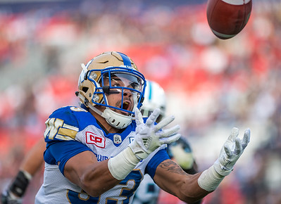 Andrew Harris (RB) reaches for the pass as the Winnipeg Blue Bombers fell to the Toronto Argonauts 29-28 at BMO Field, October 21, 2017.
