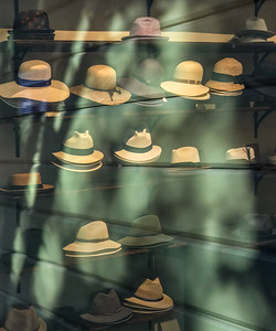 Hats and Window Reflection, Portland, 2019