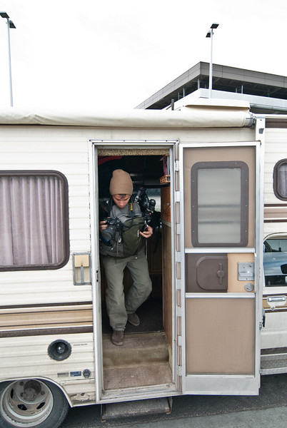 Dave departing the RV at the Airport in Salt Lake City