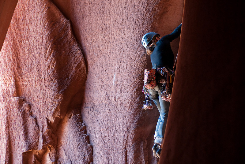"The next two are Alex on the ""Cave Route"" (5.11) in Indian Creek."