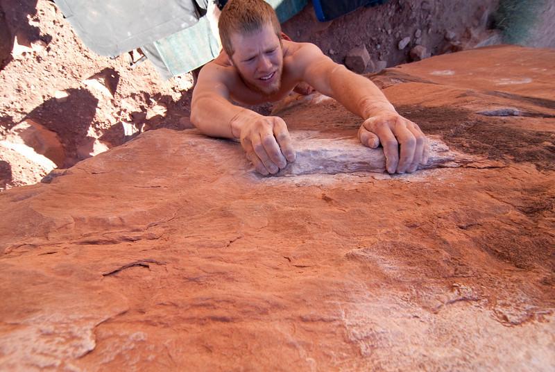 Trevor bouldering at the Big Bend area in Moab.