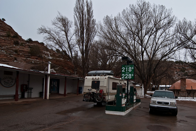 Since the Dolphin's gas tank is so small we had to make a small detour to this tiny trading post to fill up. This is Shonto, AZ.