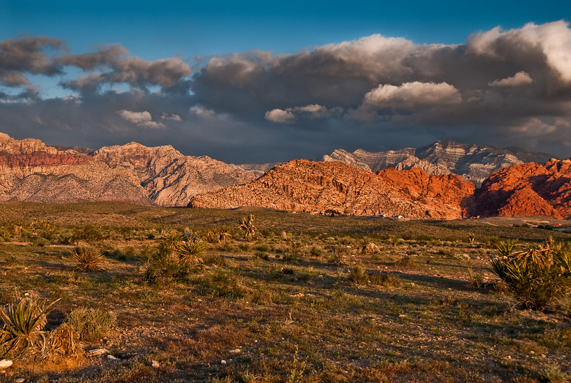 Early morning picture of the Red Rock area. Those big clouds almost discouraged us from doing Cloud Tower that day.