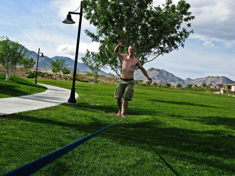 Slacklining after bailing off of Cloud Tower.