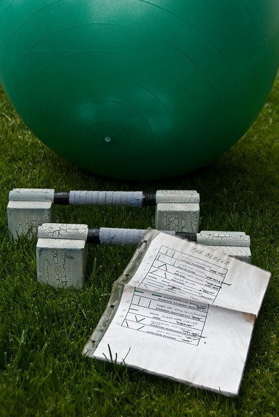 This is the paraphernalia needed for the push up work out that Bennet convinced us to do. He claimed that we wouldn't be sore the next day. Well, it's the next day and after 200 push ups I am quite sore. It was a really good work out and quick.