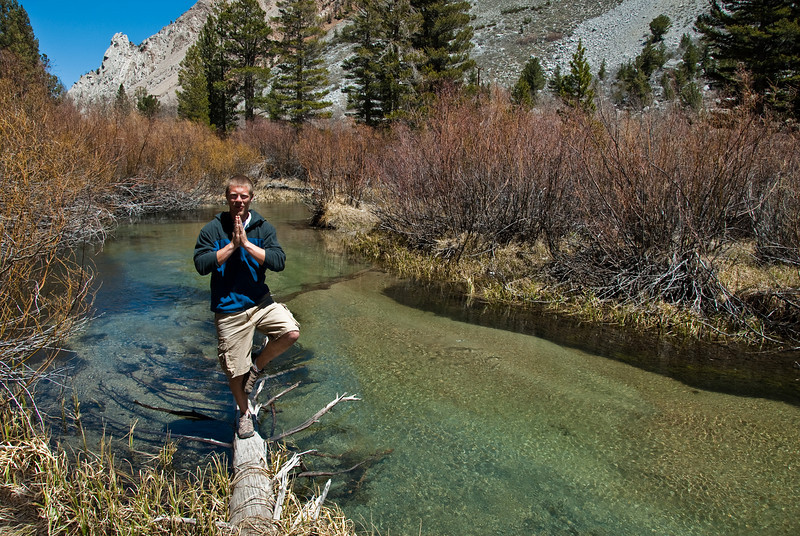 Trevor showing off his Yoga skills up by a river near Aspendell, CA. Aspendell is located at 9000ft about 20 miles outside of Bishop. We drove up in hopes of finding an alpine lake. No luck with the lake, just this river.