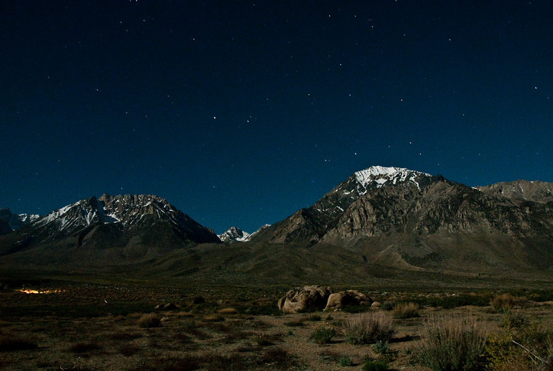 Night shot. Mt. Tom on the right and Basin Mountain on the left. Horton Lake is back between them and that is where we hiked to the next day.