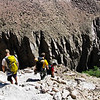 Walking into Owens River Gorge to do some sport climbing.