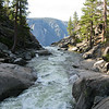The water goes over Yosemite Falls where you see it end in this picture.