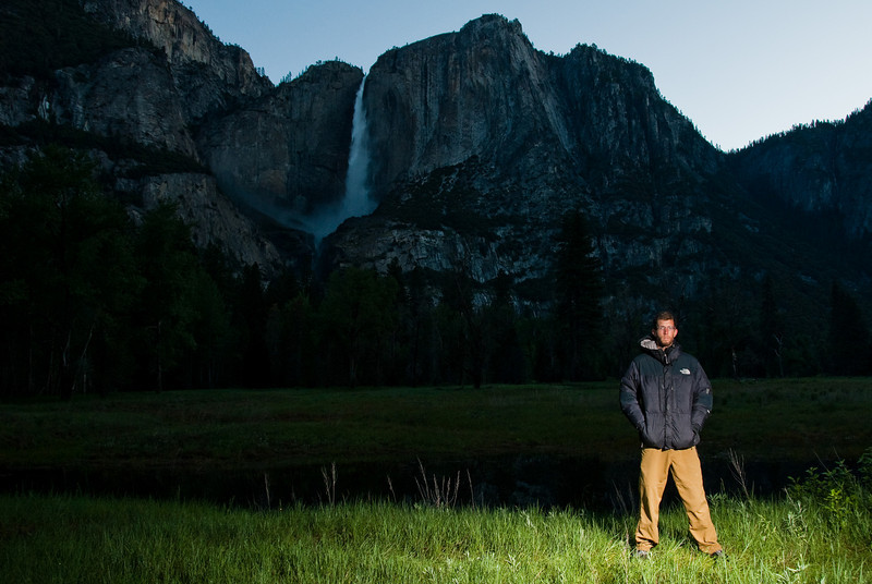 Me in front of Yosemite Falls early in the morning.