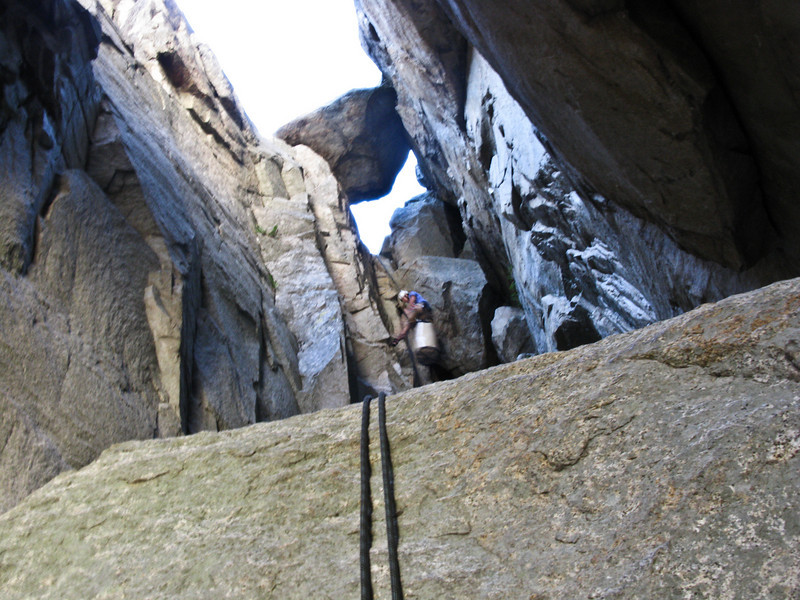 Trevor rappelling down the chimney/gully. The rappels were garbage. They were low angle and had a bunch of loose rock, so the rope would catch on everything and knock rock down at us. We didn't get back to the RV until about 10pm. After the rappels we had to hike down a boulder field back to the parking lot. It was a great adventure and climb.