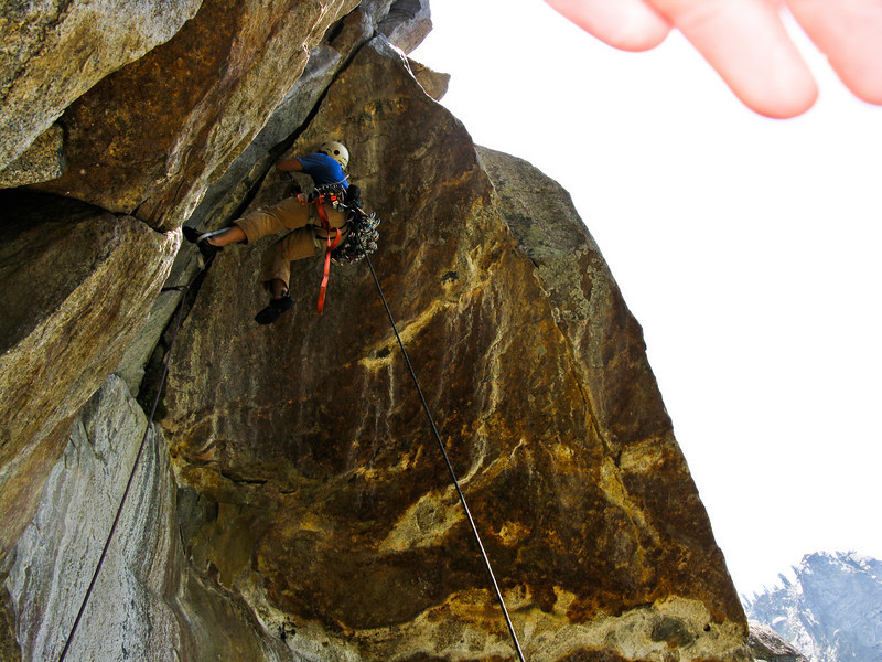 Trevor aiding a roof section on pitch 7 or 8.