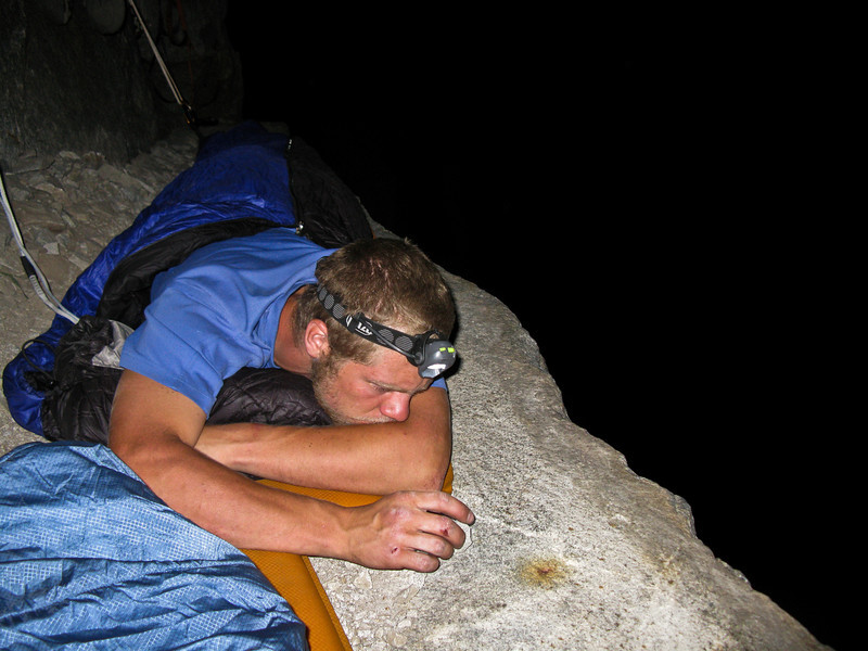 Sleeping on the ledge. I slept pretty good. Trevor didn't sleep to well. He was constantly worried that he would toss and turn himself over, but we were tied in, so he would have just gone for scary little ride.