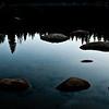 Sunrise reflection in the lake.