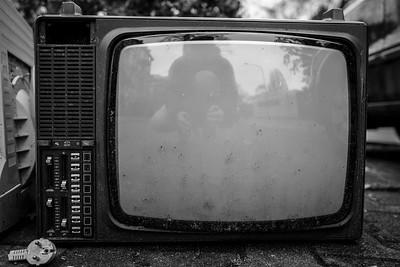 Broken vintage TV