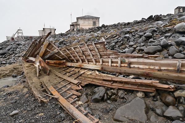Rowing boat, Sedov Station, Hooker Island, Franz Josef Land