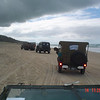Driving 20km along the beach from Tewantin to Cooloola after which we headed across a 20km 4WD track to Rainbow Beach. From front: Michael and Emiel in the US6, Lang Kidby in the WC54, Karen and Dale Barnard in their jeep Photo by J. Gordon