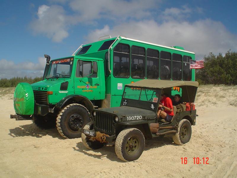 Jeff Gordon's jeep next to a Fraser Island 4WD tourist explorer bus Photo by J. Gordon