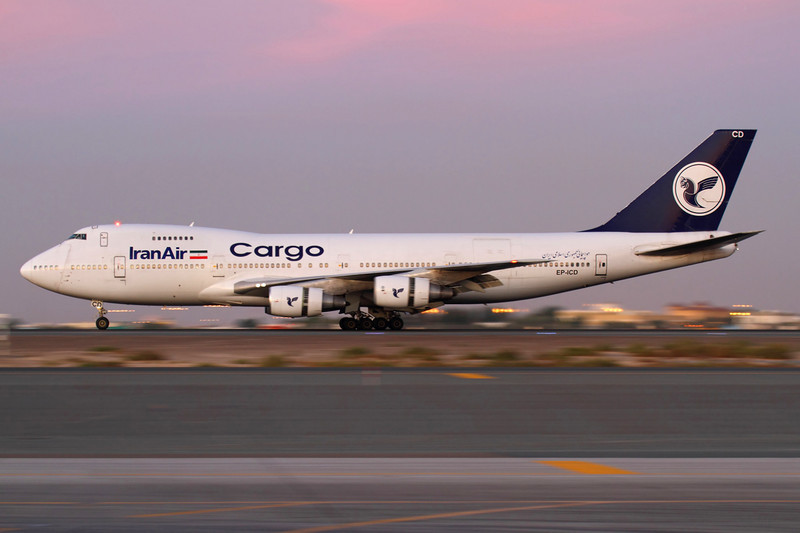 EP-ICD - Iran Air Cargo, Boeing 747-21AC (SCD) (c/n 24134 l/n 712)<br /> <br /> Landing in Dubai after sunset, a slow shutter speed was needed to capture this former Martinair aircraft slowing on runway 30L. Panned at 1/25th second, ISO250. 14 November 2011