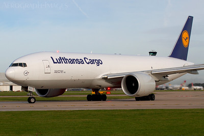 Reg:  D-ALFCOperator:  Lufthansa CargoType:  Boeing 777-FBT  C/n:  41676 / 1178Location:  Manchester - Ringway (MAN / EGCC), UKTurning onto runway 23L in weak sunshine, continuing onto Frankfurt having arrived on the weekly freight service from Los Angeles Photo Date:  23 September 2016Photo ID:  ..