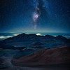 Most people come up to Haleakala on Maui, Hawaii for sunrise. That is an excellent time to be there, but it is every bit as magical at night. The amount of stars that can be seen with the naked eye is extraordinary, and the chances are good that you will be left virtually alone with this amazing landscape.