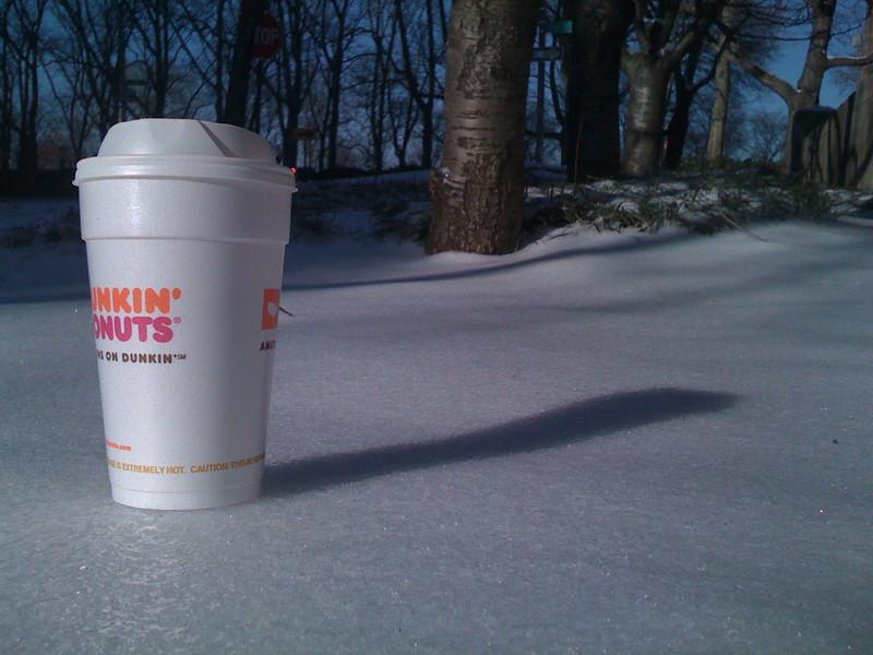 Dunkin in snow