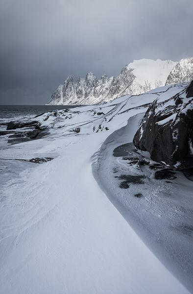 Winter storm, devils teeth, Tungeneset, Senja