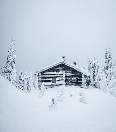 Frozen cabin, arctic Finland
