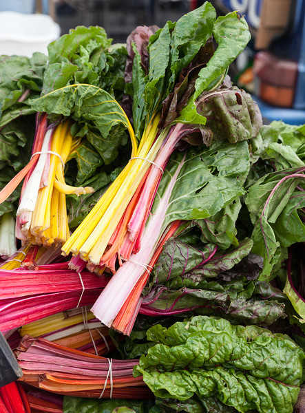 Red and yellow chard at a farmer's market