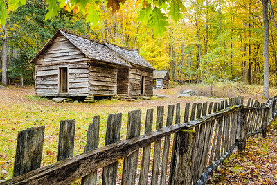 19th Century Log Home and Picket Fence