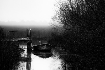 Blue Boat on Foggy Morning