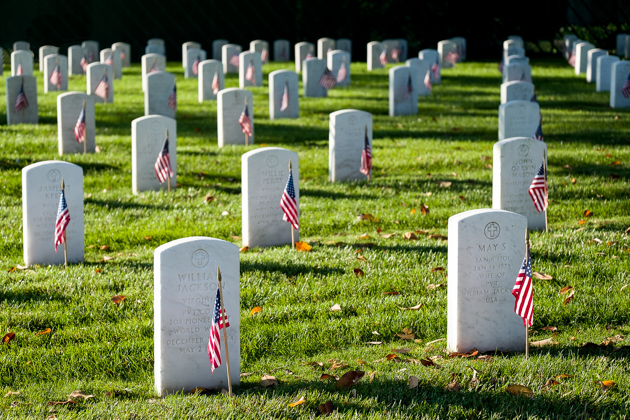 Flag Adorned Graves of United States Veterans