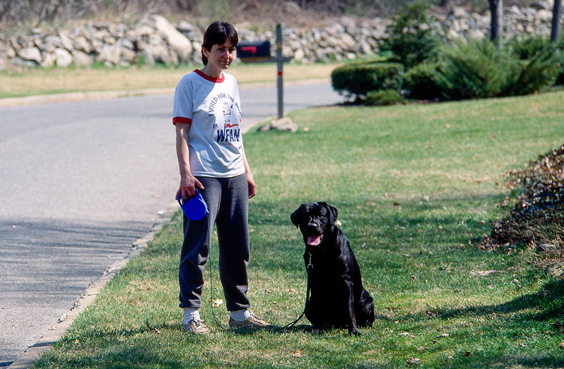 Mickey & Mercedes in front yard - April 1991