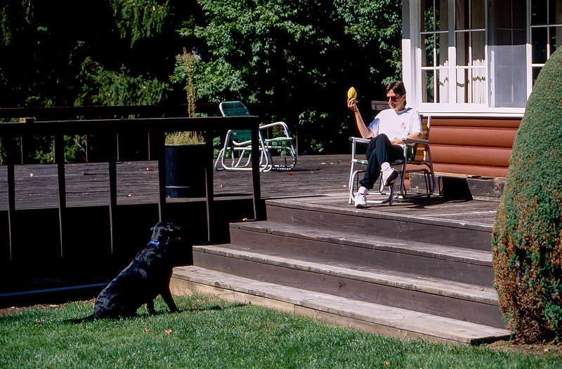 Mickey & Mercedes playing with his yellow rubber football - Sept. 1994