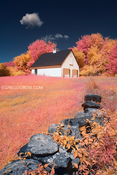 New England Barn and Farmstead Stone Wall in Boxford Massachusetts with Infrared