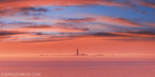 The Graves Light Station in Boston Harbor at Sunrise from Deer Island