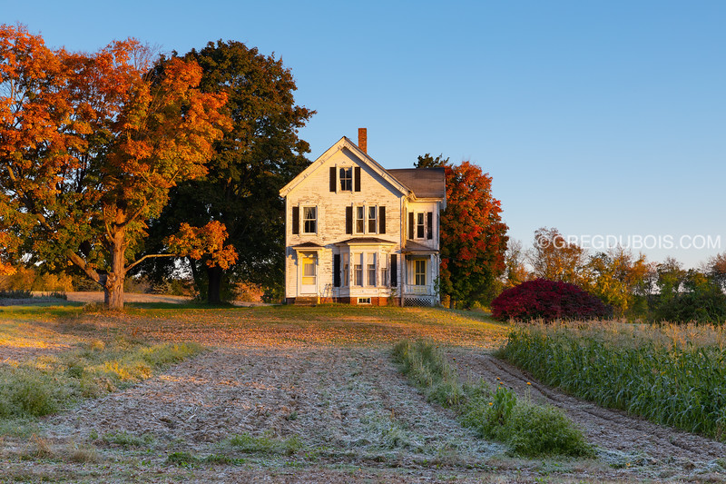 Massachusetts Farm in Autumn at Sunrise with Frost