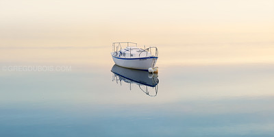 Belle Isle Boston Massachuetts and Single Boat at Sunrise
