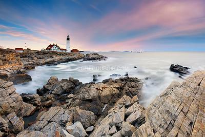 Portland Head Light in Cape Elizabeth Maine with Stormy Sunrise