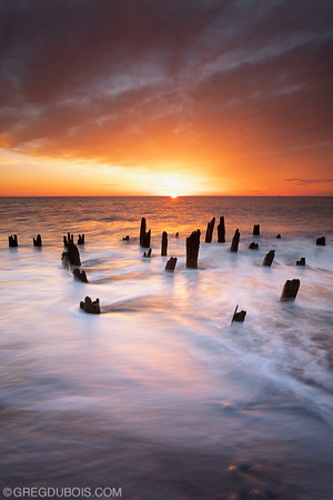 Yirrell Beach Sunrise with Decayed Pier at Deer Island in Boston Massachusetts