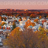 Autumn in Boston Suburbs with Quaint New England Town and Fall Foliage (4:1 Pano)