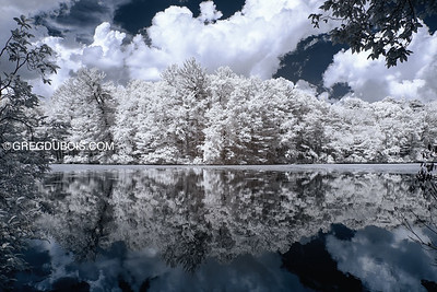 Summer Thunderheads Pass over Rea's Pond in North Andover Massachusetts with 720nm Infrared