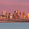 Boston Skyline and Logan Airport at Sunrise from atop Deer Island in Boston Massachusetts