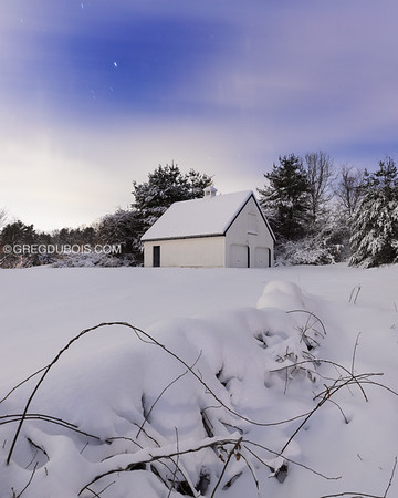 New England Barn and Farmstead Stone Wall Covered in Fresh Snow with Ice Pillar Night Sky (4x5)