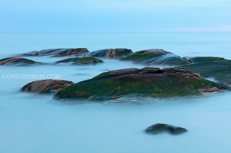 Wingaersheek Beach Sea Rocks at Dawn with High Tide in Gloucester Massachusetts