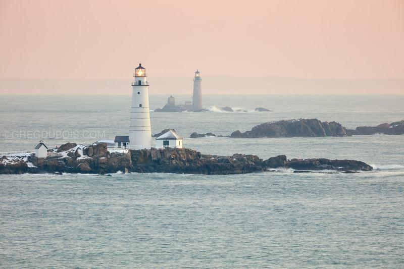 Boston Light and The Graves Light at Sunrise from Hull Massachusetts
