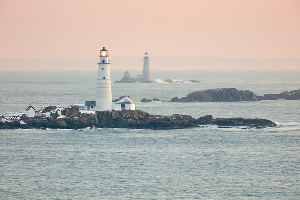 Boston Light and The Graves Light at Sunrise from Hull Massachusetts
